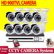 White Bullet HD Camera 8pcs 900tvl security outdoor waterproof camera 8ch AHD 1080P 960h CCTV System 3g wifi dvr kit hdmi 1080p