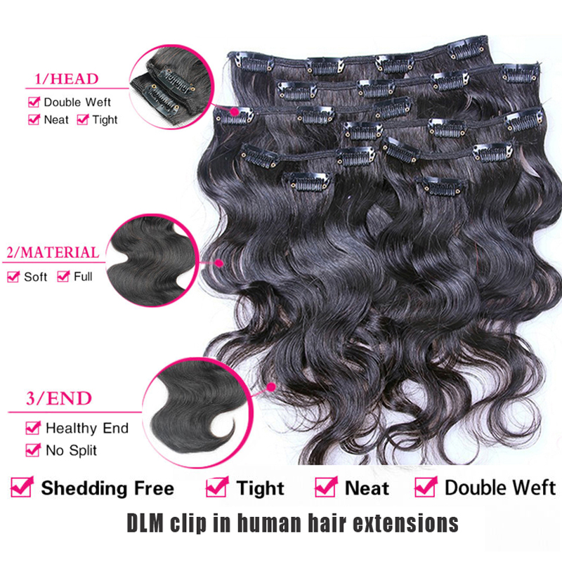 Wholesale 10 30inch Brazilian Body Wavy Human Clip In Brazilian Hair