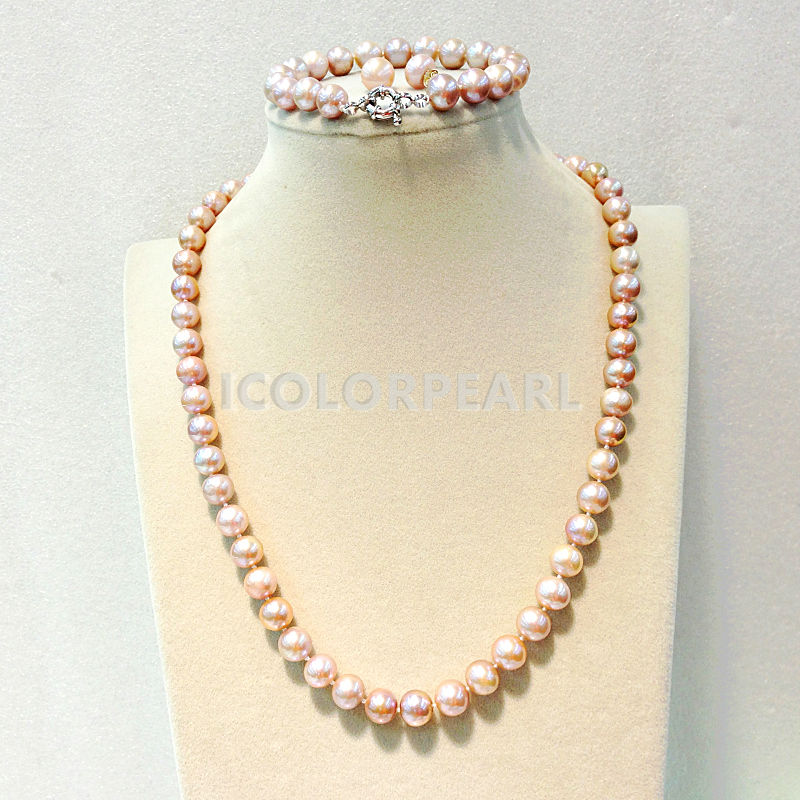 WEICOLOR Nice 8-9mm Nearround Pink Natural Freshwater Pearl Sets( Necklace,Bracelets and Earrings).Special Color For Your Love!WEICOLOR Nice 8-9mm Nearround Pink Natural Freshwater Pearl Sets( Necklace,Bracelets and Earrings).Special Color For Your Love!