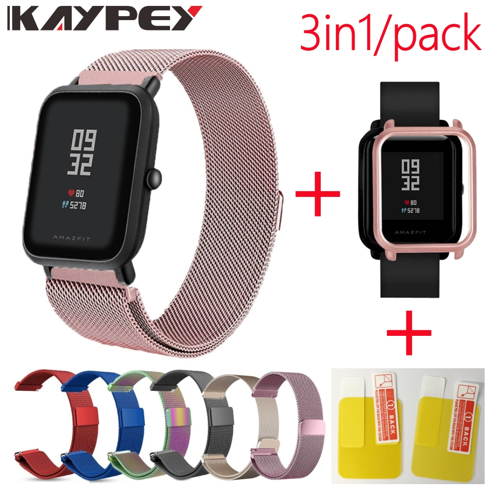 3in1 For Xiaomi Huami Amazfit Bip Strap Wristband Milanese Stainless Steel Smartwatch Bracelet Amazfit Bip Screen Protector Case