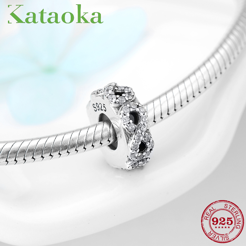 2c2ff09cb High Quality Number 8 Charms 925 Sterling Silver Stopper Beads Clear CZ Fit  Original Pandora Bracelet