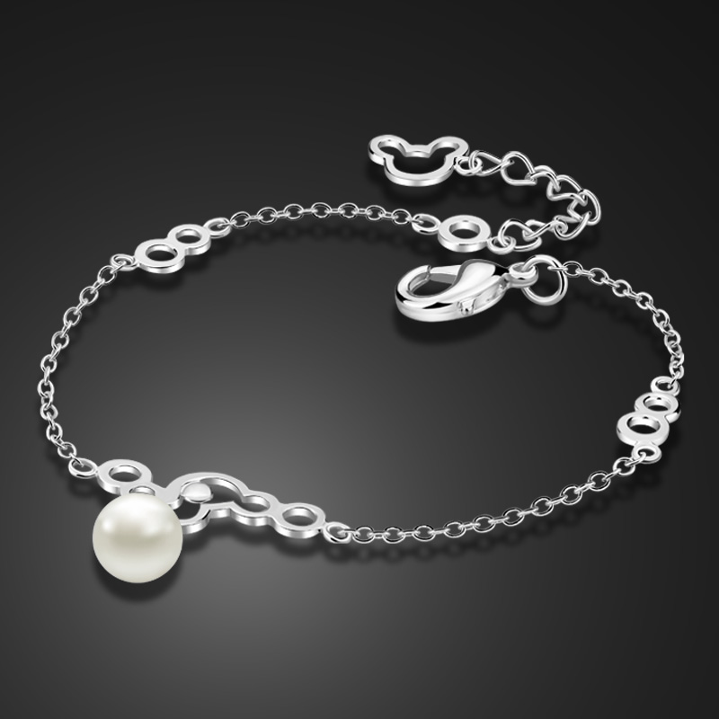 Fashion Cute Silver Mickey Girl Bracelet Elegant Solid 925 Sterling Silver Pearl Women's Bracelet wholesale Charm Jewelry Gifts
