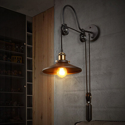 New Iron Pulley Adjustable Loft Wall Lamp Vintage Wall Sconces ...