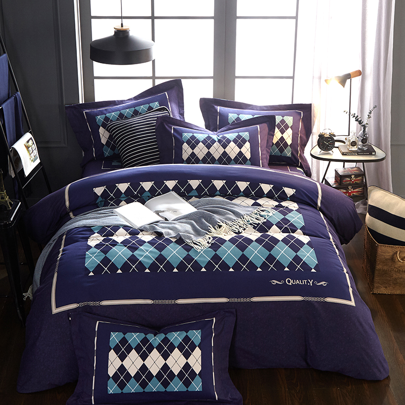 Blue gray 100% Cotton Bedding Set Duvet Cover Sheet Pillowcase King Queen Size plaid Bed LinenBlue gray 100% Cotton Bedding Set Duvet Cover Sheet Pillowcase King Queen Size plaid Bed Linen