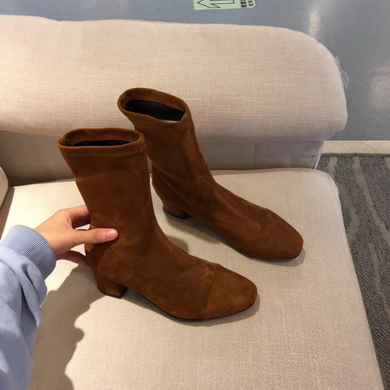 النقل المجاني نمط الشتاء أحذية النساء 2019 الأزياء لينة جلد طبيعي النساء الأحذية الربيع والخريف الجوارب الأحذية تمتد التمهيد-في أحذية منتصف ربلة الساق من أحذية على  مجموعة 1