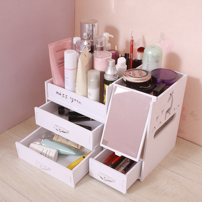 Beauty Makeup Organizer With Drawers, Wood Plastic Cosmetic Vanity Holder,  Small Bathroom Counter Storage, (Upu0026down Drawers) In Storage Drawers From  Home ...