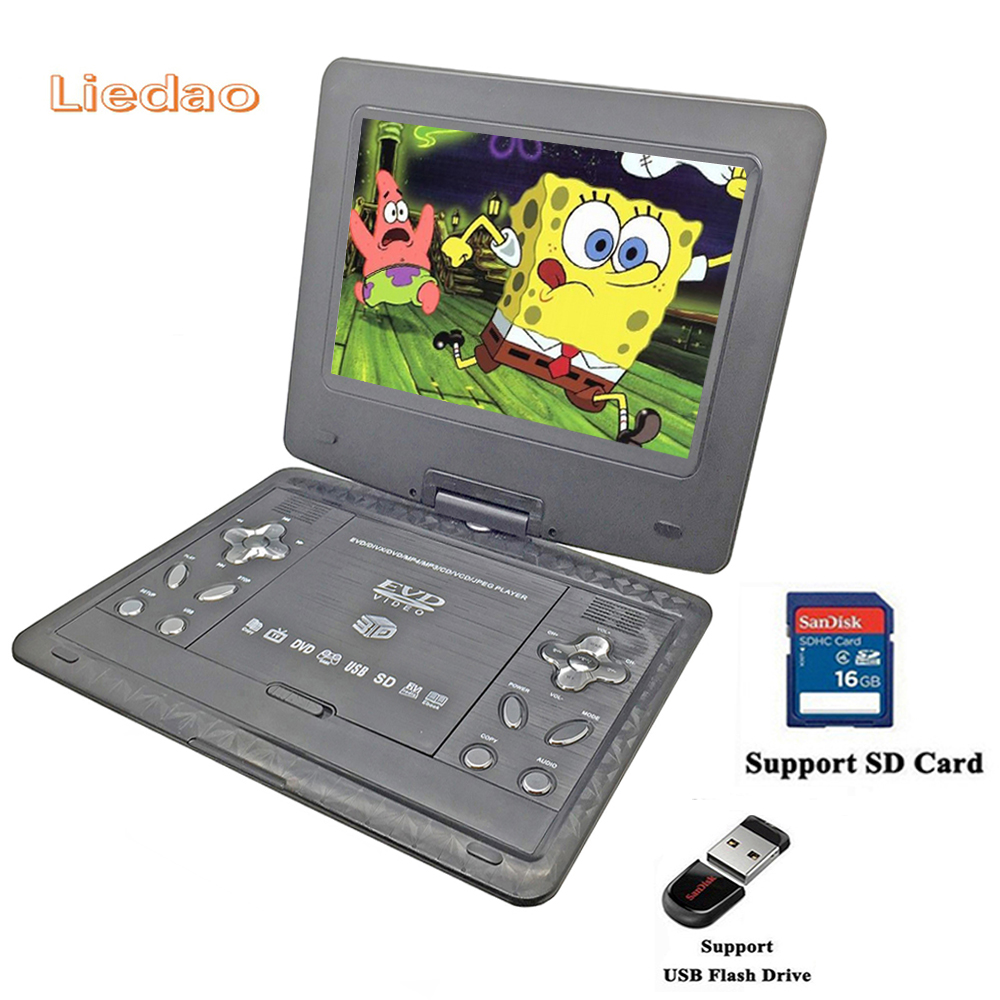 Liedao 10.1inch Portable DVD Player Rechargerable Battery Game Player Radio Portable Analogue TV AV SD / MS / MMC Card Reader stylish rose leaf tassel voile scarf