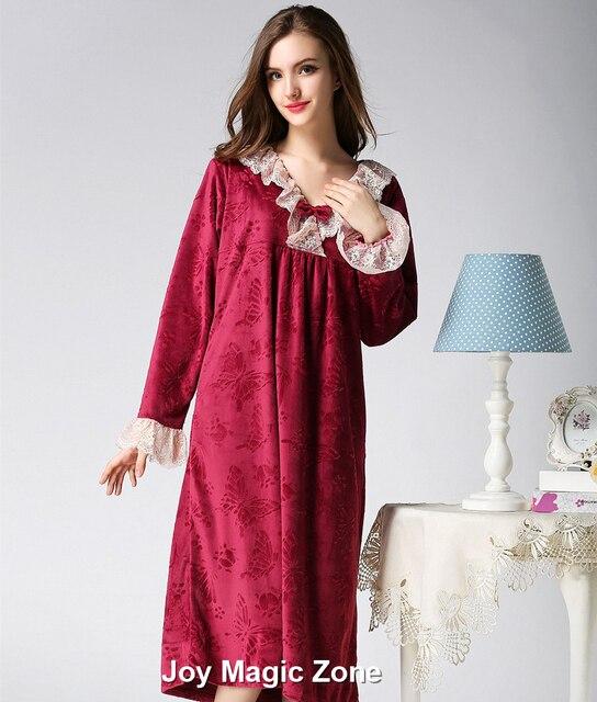 Winer yomrzl A244 nova chegada flanela camisola das mulheres com decote em v vestido sono manga longa manter quente plus size sleepwear