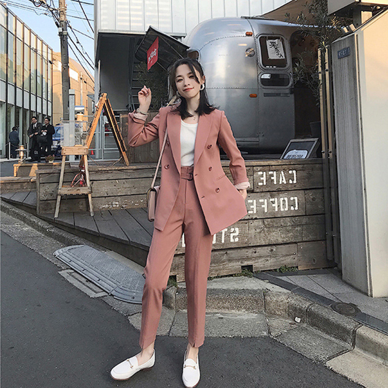 2018 Fashion 2 Piece Sets Pant Suits Double Breasted Loose Blazer Jacket & Straight Pant Office Lady Suit Women Outfits