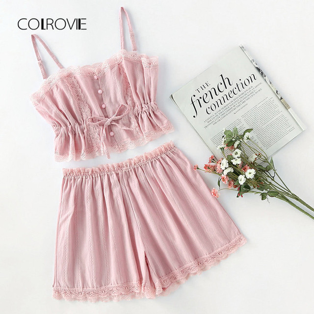 2c9a2d30ad COLROVIE Contrast Lace Cami With Shorts Pajama Set Women Pink Spaghetti  Strap Sleeveless Drawstring Waist Cute Sleepwear