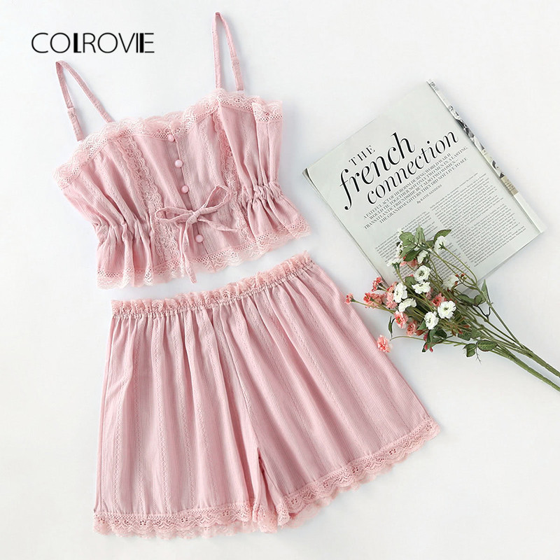 COLROVIE Contrast Lace Cami With Shorts   Pajama     Set   Women Pink Spaghetti Strap Sleeveless Drawstring Waist Cute Sleepwear