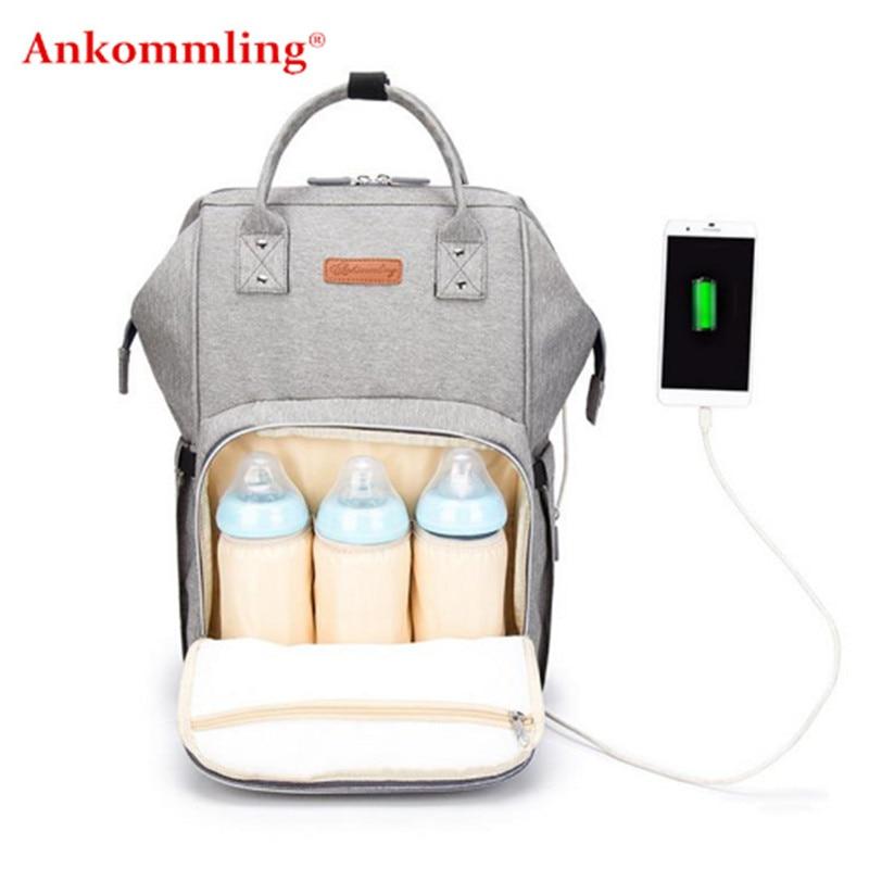 Ankommling USB Interface Diaper Bag Maternity Nappy Bag For Baby Stroller Bag Large Capacity Nursing Backpack for Travel Wet Bag bag