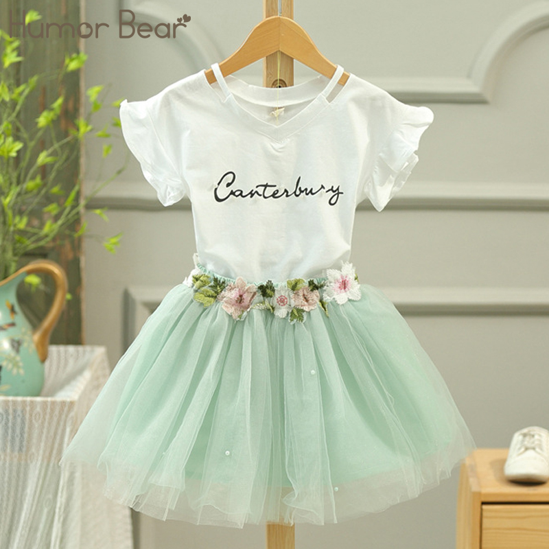 Humor Bear Girls Clothes 2017 Brand Girls Clothing Sets Kids Clothes Letter Printing Children Clothing Girl Tops+Skirt 3-7Y humor bear baby girl clothes set new sequins letter long sleeve t shirt stars skirt 2pcs girl clothing sets kids clothes