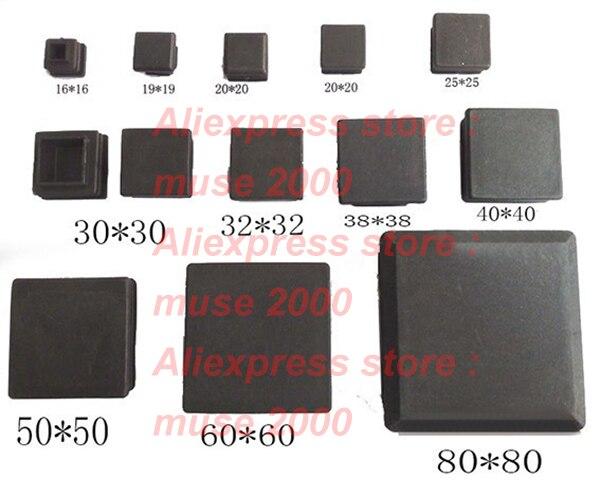 100pcs Square Tube Insert Ends Plastic Blank Tube Plastic Plug Leg Cap,chair Table Feet 10 13,15,16,19,20,22,25,30,32,35,38 40mm(China)