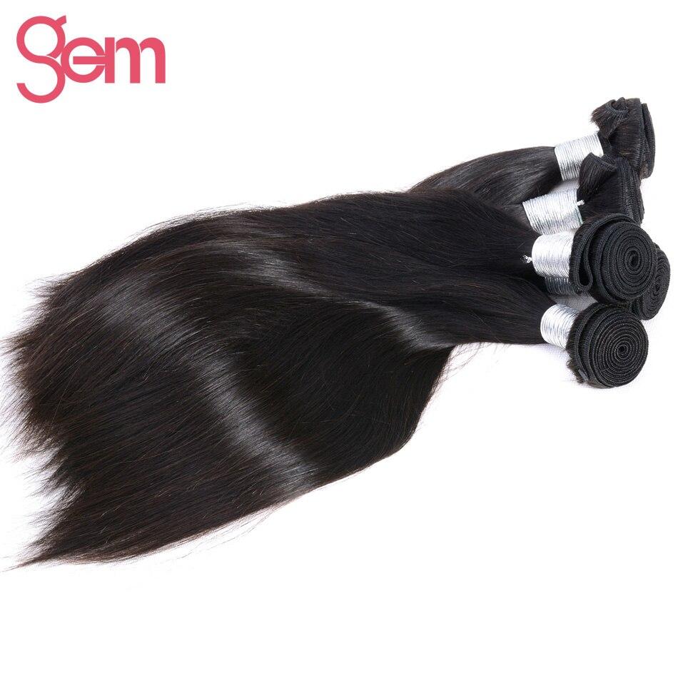 Indian Remy Haar Steil Haar Extensions 1 Stks 100% Menselijk Haar Weave Bundels GEM BEAUTY SUPPLY Haarproducten Natuurlijke Zwarte 1b