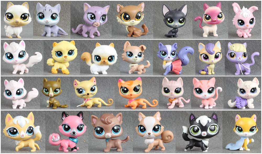 1pcs LPS Pet Collection Figure Cat Kitty Persian Siamese kitten Animals Child Loose Cute Toys lps toy pet shop cute beach coconut trees and crabs action figure pvc lps toys for children birthday christmas gift