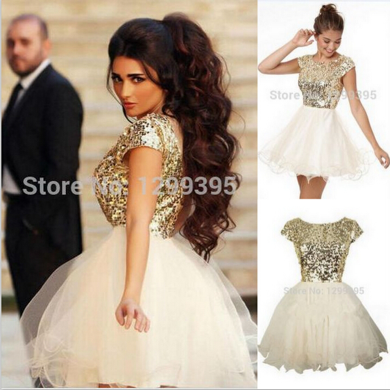 Elegant Lace Tulle Wedding Dresses Simple Design 3 4 Lace: Gold Prom Dresses Short Ball Gowns Sparkly Sequins Lace