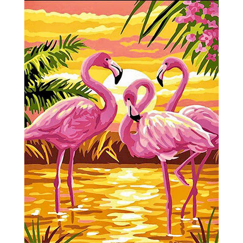 pink flamingo seaside Animal DIY Digital Painting By Numbers Modern Wall Art Canvas Painting Unique Gift Home Decor 40x50cm
