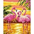 Набор для рисования по номерам «сделай сам», холст с рисунком розового фламинго, морского животного, свадебное украшение, 40x50x65 см