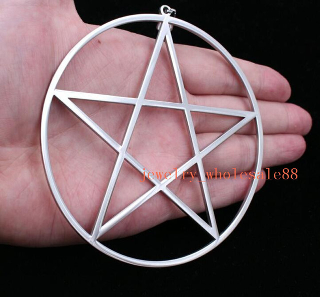 Large big 4 stainless steel high polished pentagram satanic large big 4 stainless steel high polished pentagram satanic worship pendant necklace aloadofball Choice Image