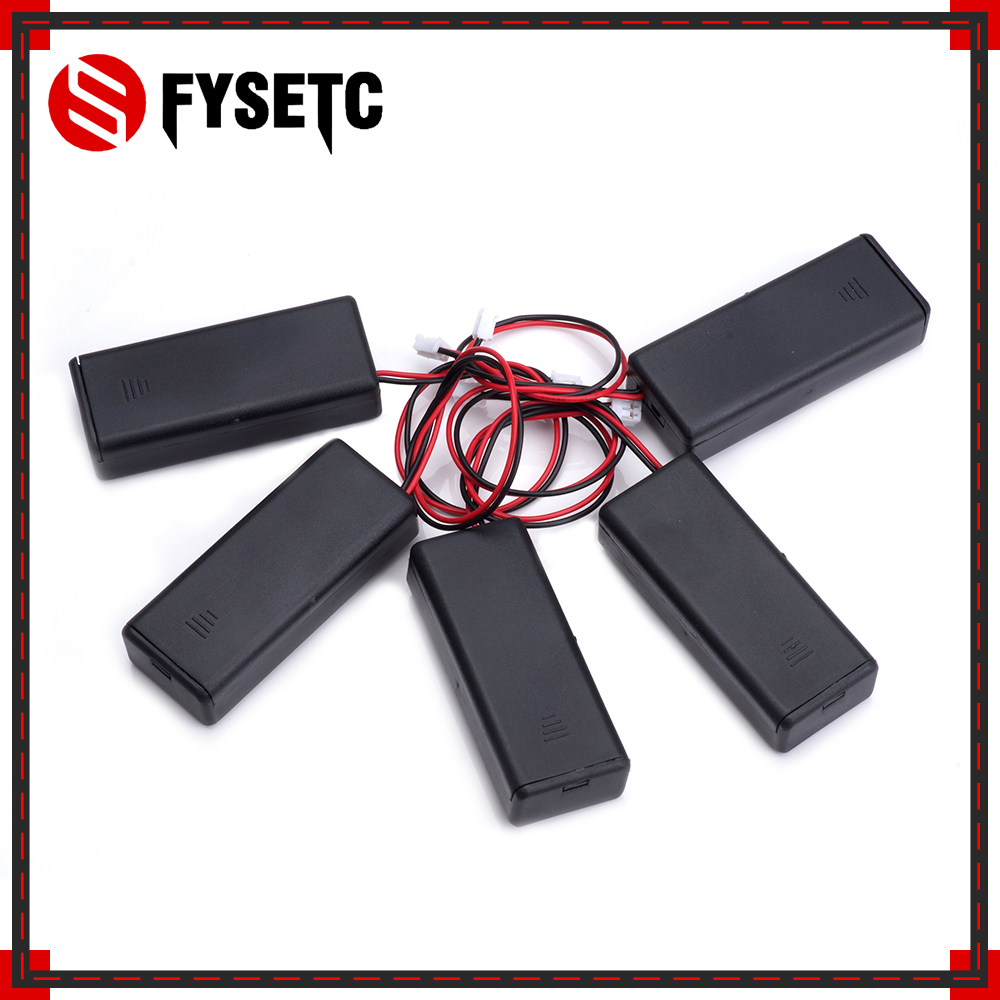 5pcs Black 2 AAA Battery Holder 3V Plastic Connector Storage 7# Battery Case Box ON/OFF Switch With Lead For Micro Bit