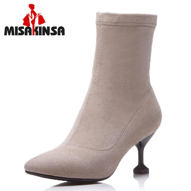MISAKINSA Size 34-39 Ladies Real Leather High Heel Mid Calf Winter Boots Women Sexy Pointed Toe Elastic Shoes Women Warm Bota 2015 retro elastic band rivets height increasing pointed toe platform 2 colors real leather mid calf boots women outdoor shoes