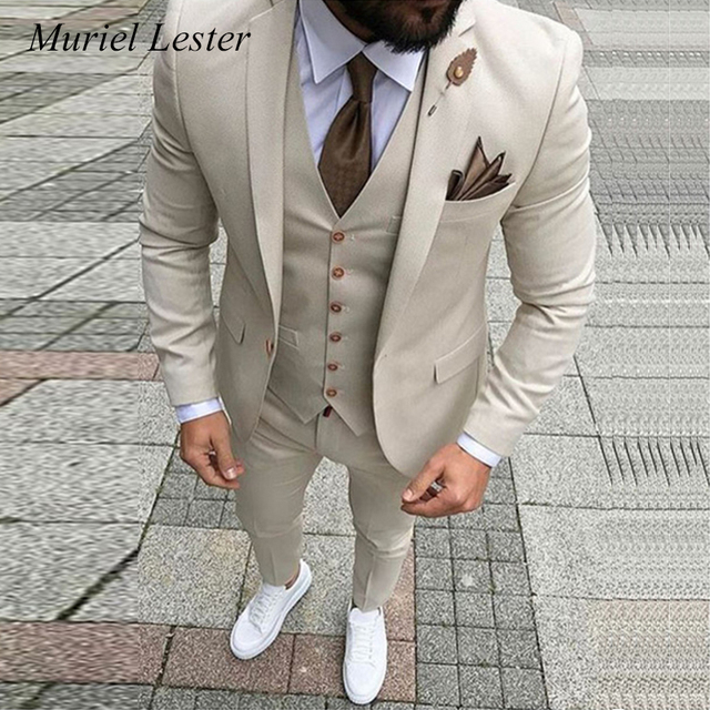 3f82a94d75 ML-255 Custom made Ivory Wedding Suit for man Bespoke Light Navy Blue Slim  Fit Groom Tuxedos Prom Suits men 2018 3 pieces