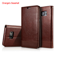 Orange S Seashell Business PU Leather Case For Samsung Galaxy S6 Funda With Stand And Card
