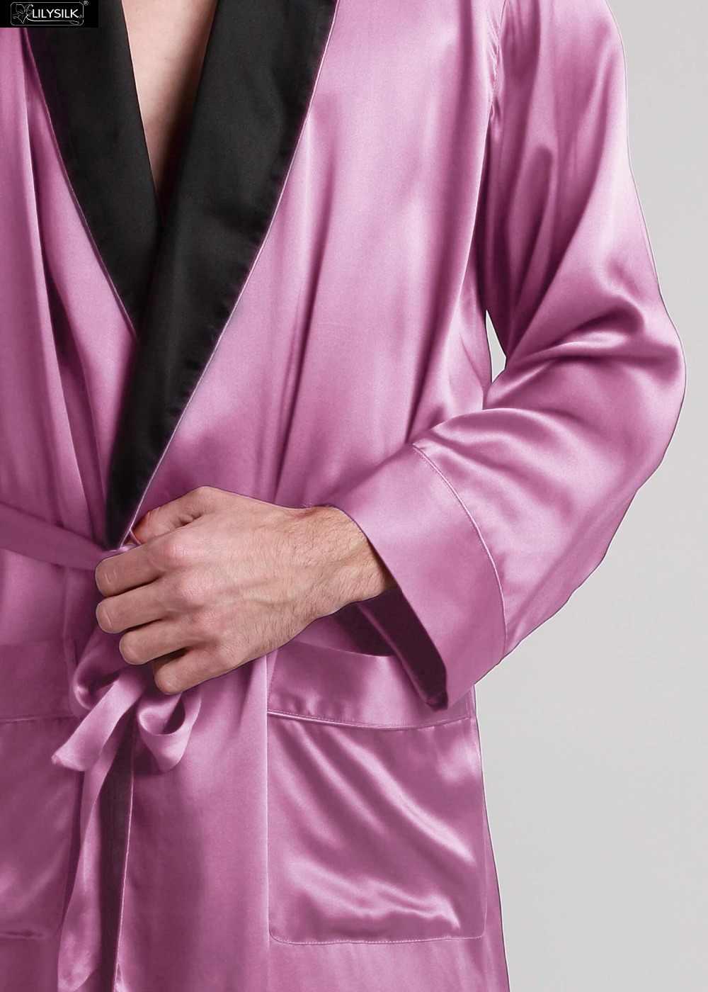 LilySilk ローブパジャマ着物男性純粋な 100 シルク 22 匁長袖コントラストカラー高級クリアランス販売送料無料