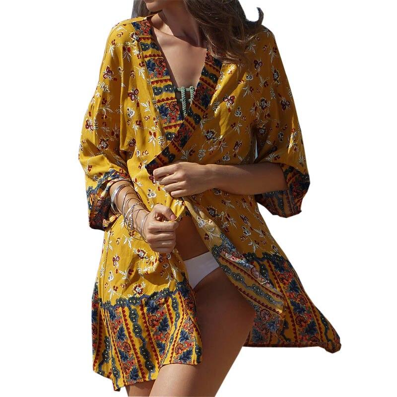 Boho Kimono Women Summer Ethnic style Printed beach sunscreen outerwear holiday Cardigan dress thin Yellow