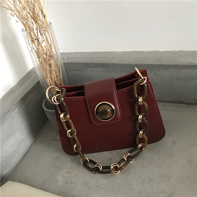 NEW fashion Leather Bag Acrylic Chain Women Luxury Bags Handbags Woman Famous Brand Chain Shoulder Bags Bolsa Feminina