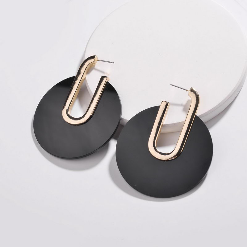 Zwpon 2018 New Black U Shape Acetate Hoop Earrings For Women Fashion Geometric Acrylic Earrings Jewelry Wholesale Refreshing And Enriching The Saliva