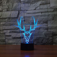 7 Color Changing Acrylic 3D Usb Deer Totem Modelling Led Table Lamp Lighting Touch Button Kids