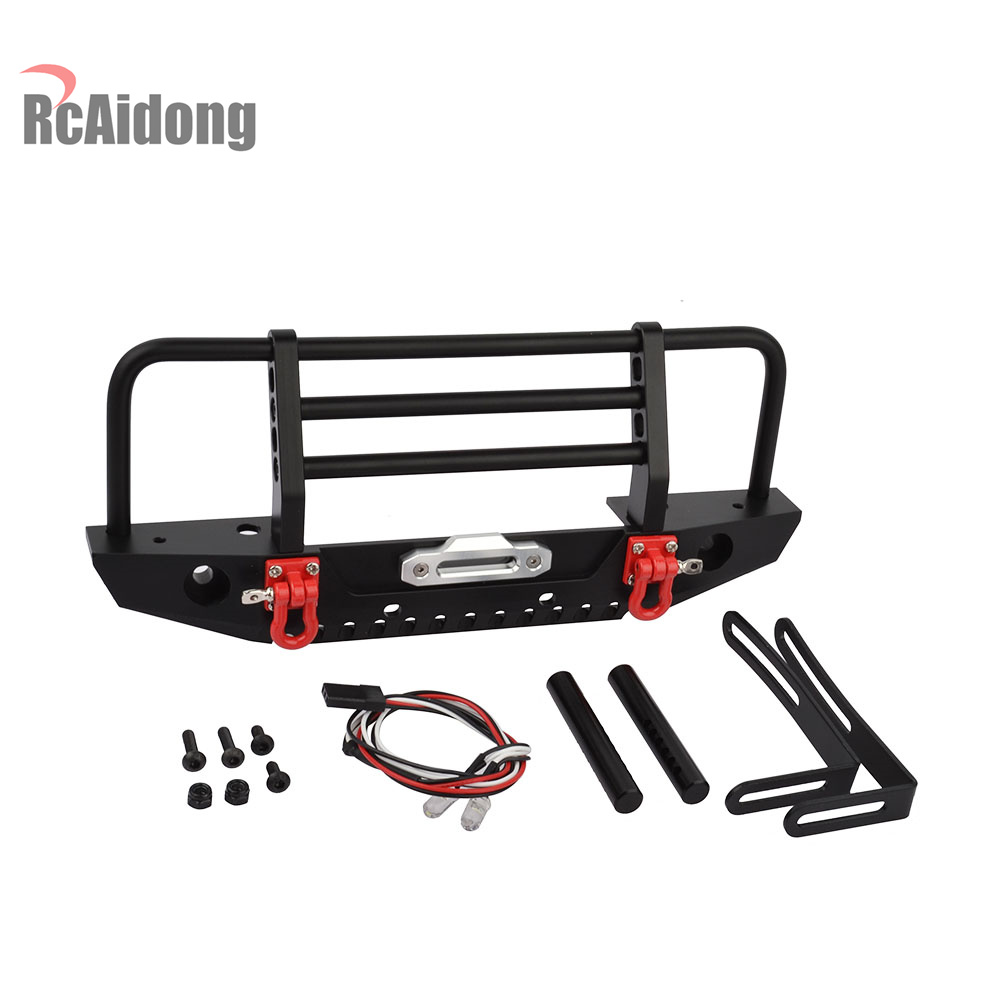1/10 RC Alloy Front Bumper with Light for 1/10 RC Crawler Car Traxxas TRX-4 TRX4 Axial SCX10 & SCX10 II 90046 mxfans rc 1 10 2 2 crawler car inflatable tires black alloy beadlock pack of 4