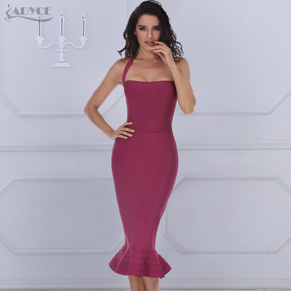 ADYCE 2018 New Summer Bandage Dress ქალთა სექსუალური ღვინის წითელი Bodycon Dress Halter Fishtail Midi Club Backless Celebrity Party Dresses