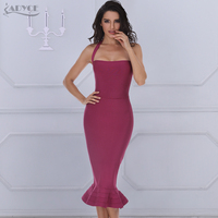 ADYCE 2019 New Summer Bandage Dress Women Sexy Wine Red Bodycon Dress Halter Fishtail Midi Club Backless Celebrity Party Dresses