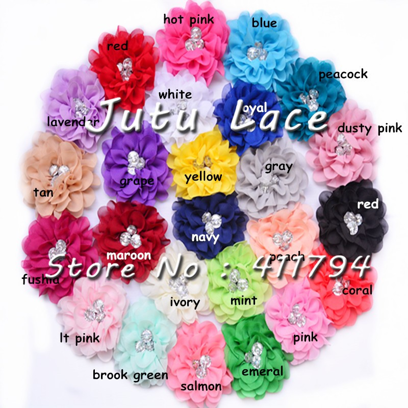 60 Pcs/lot , 3''shabby Chiffon Flowers With Rhinestone For Apparel Hair Headwear Accessories  25 Colors