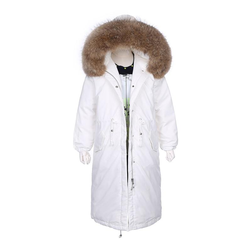 Hors saison vestes femme manteau d'hiver 2018 parkas grand naturel réel de fourrure dames vêtements grandes poches féminin manteau complet manches
