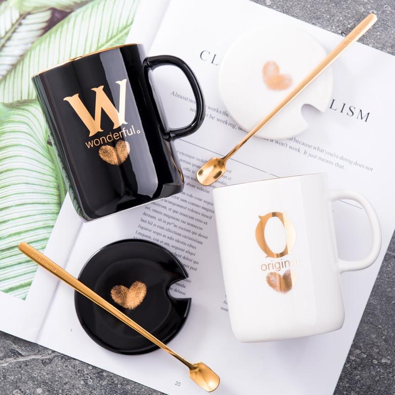 400ml Creative Gold Finger Printing Black Ceramic Coffee Mug 1
