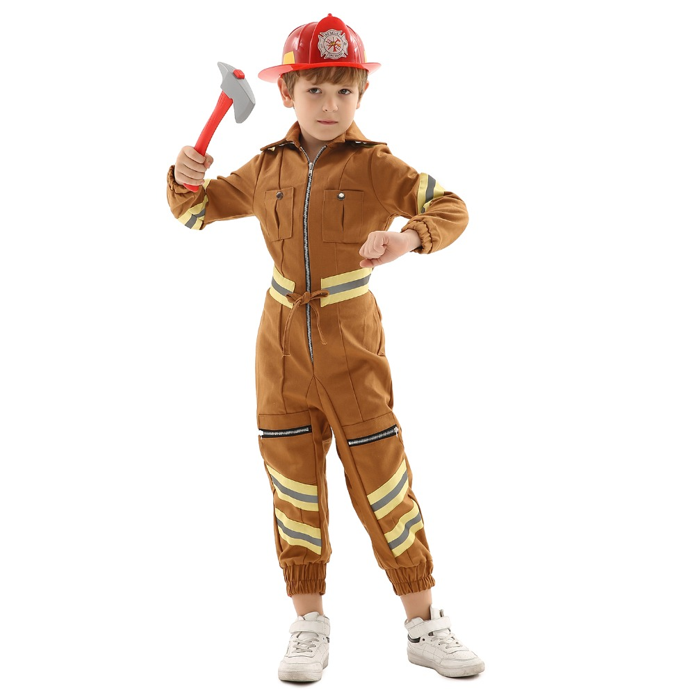 Engineer  Repairman Cosplay Costume for Children Jumpsuit for Theme Party,Halloween or Stage Performance with Hat + Toy Hammer
