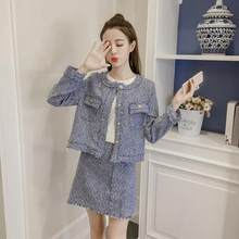 9f0897b183 Aliexpress.com : Buy Women Tassles Fringed Tweed Suits Sweet Short Jackets  Mini Pencil Skirts 2 Piece Set 2019 Autumn Winter Women Skirts Set DF493  from ...