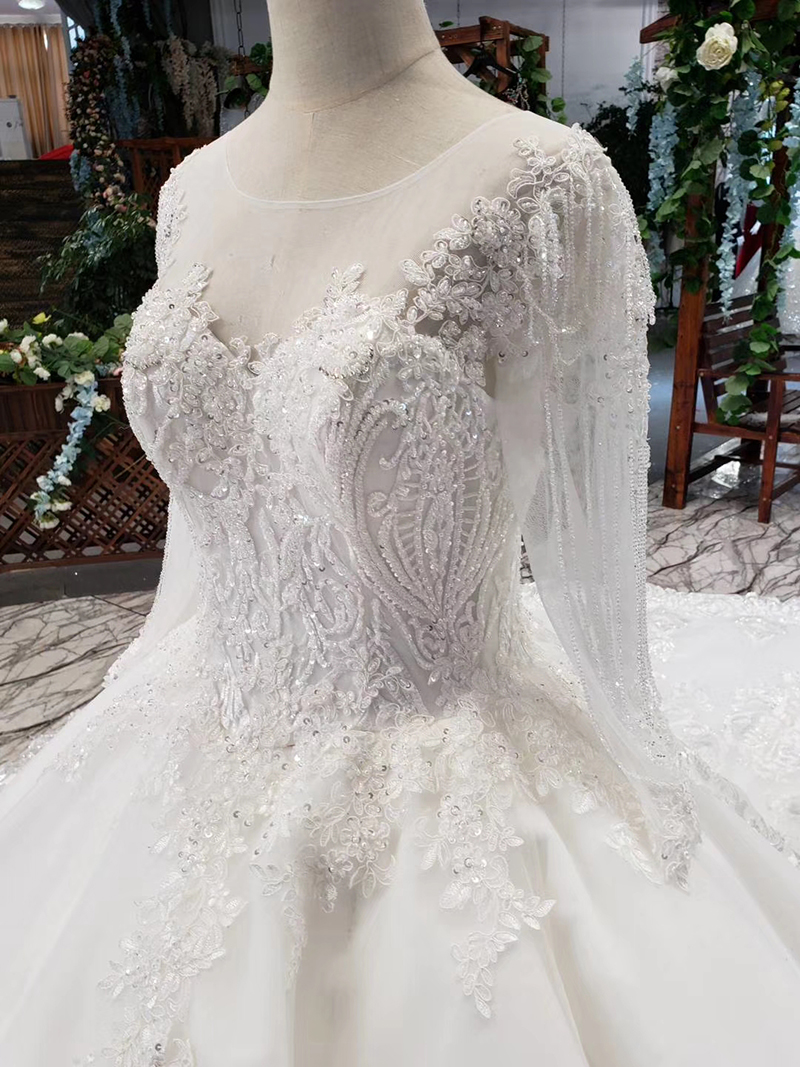 LS53710-1 luxury wedding dresses long sleeve o neck open back ball gown bridal dress up gowns 2019 promotion vestido de noiva (6)