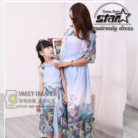 Mother Daughter Dresses New Summer FAMILY Floral Lace Dresses Mummy Daughter Girl Dress Kids Girls Party