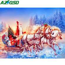 AZQSD Christmas 5d Diamond Art Embroidery Santa Hobbies And Crafts Home Decor Painting Full Square New Arrival