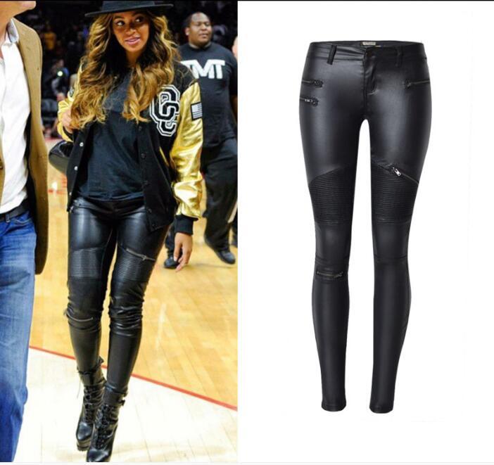 Negro Lápiz Cuero La De Mujeres Las Pu Moto Motorista Xxxl Plus Tamaño Moda Pantalones Chic Cremalleras Es qqYZaxw