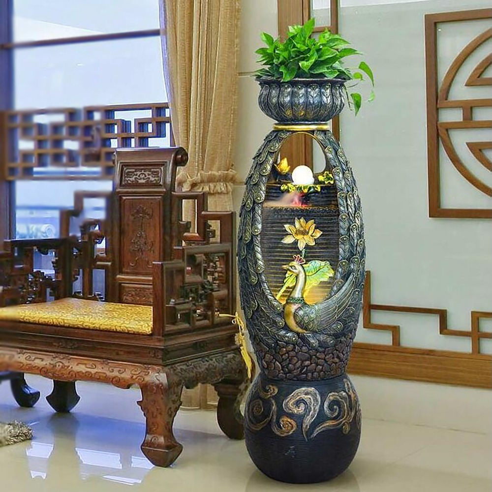 Grand mariage Hôtel Accueil salle d'eau de bureau Phoenix paon fontaine pot de fleur humidificateur chanceux paysage décoration Aquarium XL