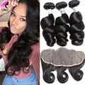 7A Ear To Ear Lace Frontal Closure With 3 Bundles Brazilian Loose Wave With Closure Unprocessed Human Hair With Frontal Closure
