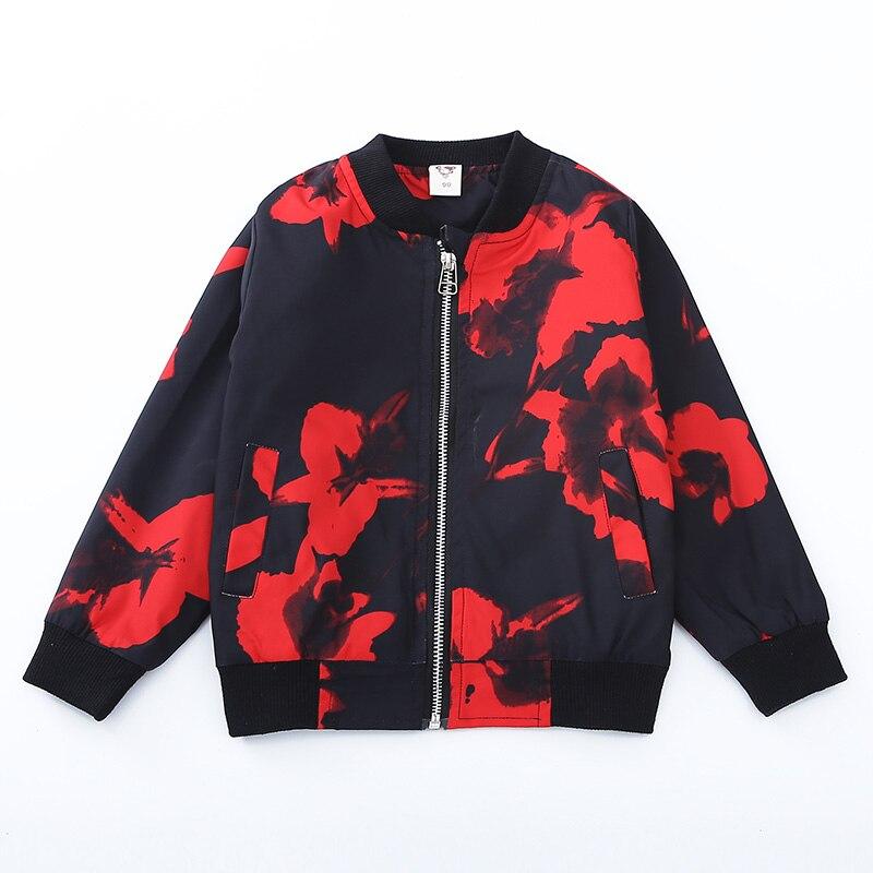 Черный, красный цветочный мальчиков Костюмы куртки пальто 2018 Повседневные принты милый мальчик верхняя одежда с круглым вырезом и длинными...