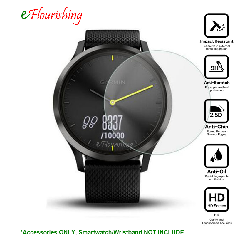 For Garmin Vivomove HR Sport Hybrid Smart Watch Screen Protector Cover Ultra Clear Tempered Glass Protective Film Guard-/ g3 3 protective 0 3mm tempered glass clear screen guard protector for lg g3 transparent