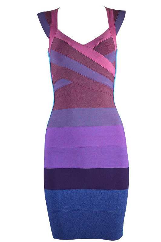 Free Shipping New Years Dresses Purple Ombre High Quality Celebrity Bandage Dresses 4 Colors Available